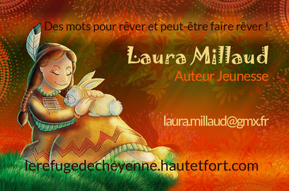 Exemple de test N°1 pour la carte de visite de l'auteur Laura Millaud réalisée par la graphiste Cloé Perrotin
