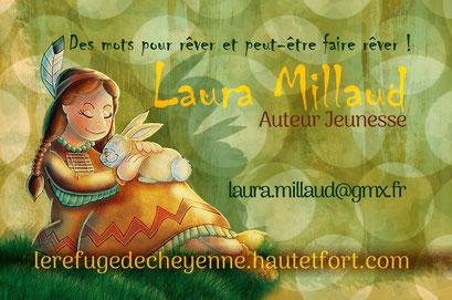 Exemple de test N°3 pour la carte de visite de l'auteur Laura Millaud réalisée par la graphiste Cloé Perrotin