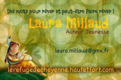 Exemple de test N°6 pour la carte de visite de l'auteur Laura Millaud réalisée par la graphiste Cloé Perrotin