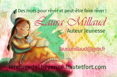 Exemple de test N°2 pour la carte de visite de l'auteur Laura Millaud réalisée par la graphiste Cloé Perrotin