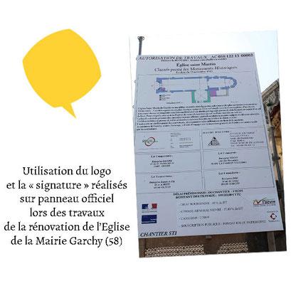 Utilisation du logo sur un panneau officiel de travaux de la Mairie de Garchy (58)
