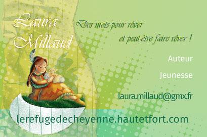 Exemple de test N°4 pour la carte de visite de l'auteur Laura Millaud réalisée par la graphiste Cloé Perrotin