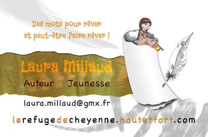 Exemple de test N°8 pour la carte de visite de l'auteur Laura Millaud réalisée par la graphiste Cloé Perrotin