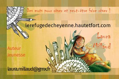 Exemple de test N°5 pour la carte de visite de l'auteur Laura Millaud réalisée par la graphiste Cloé Perrotin