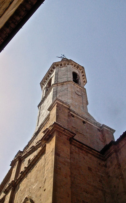 Duomo, cathedral, tower bell, Pienza, Val d'Orcia, Siena, Italy, Toscana, Tuscany
