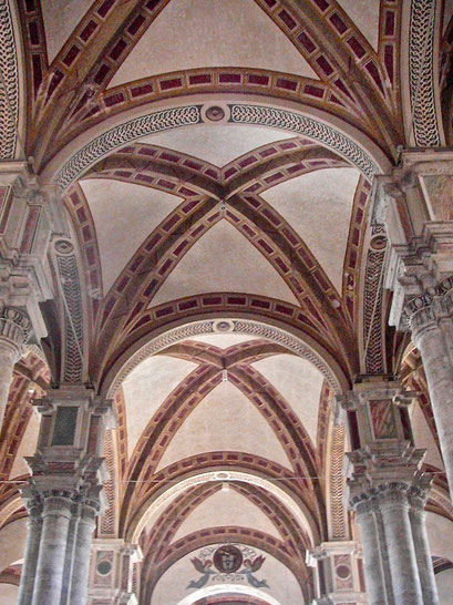 Duomo, cathedral, vault, Pienza, Val d'Orcia, Siena, Italy, Toscana, Tuscany