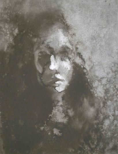 「ドローイング2」P15号 墨/水彩紙 (2010年)