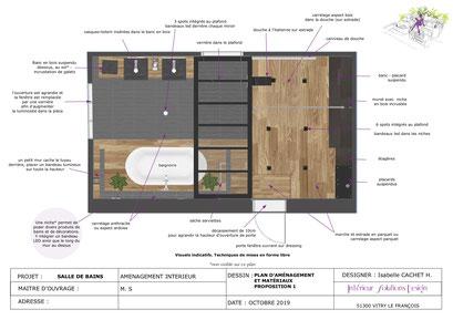 Plan d'aménagement salle de bains style industriel