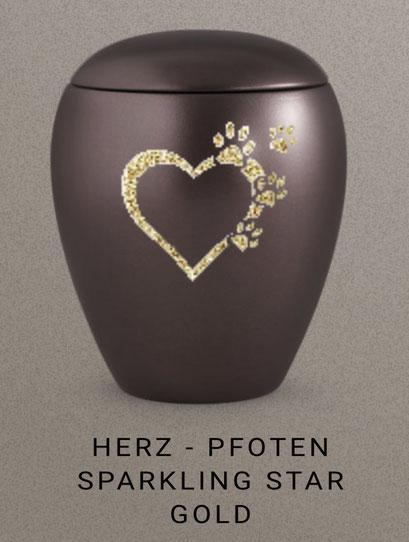 """Bespiel der Veredelungsmöglichkeit von Urnen """"-Sparkling Star"""" in gold, silber und schwarz glitzernd , je Motiv, je Namen oder je Datum 36,00 EUR extra + Urne"""