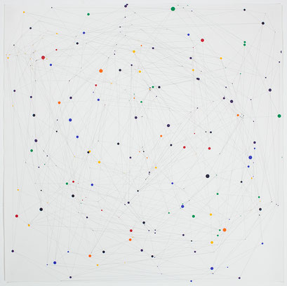 O H N E   T I T E L  # 6,  2009,  Acryl und Tusche auf Karton  / acrylic and ink on paperboard,  100 x 100 cm