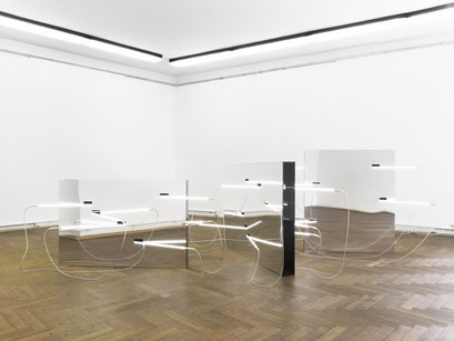 o.T. (I 01-2013), Aluminum on plexiglass, neon systems, dimension variable