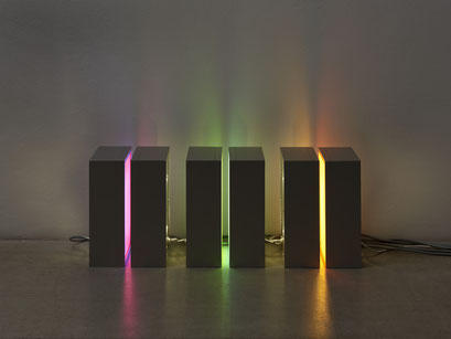 o.T. (I 02-2018) Lightboxes, anodized aluminum, self-adhesive films, 30x24x10cm