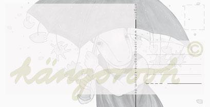 Postkarte Rückseite: engelin mit schirm / kängorooh / 2017