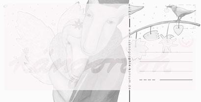 Postkarte Rückseite: weihnachtsmann & engelin / kängorooh/ 2017