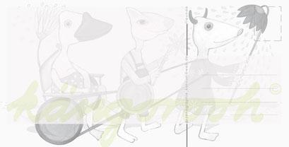 Postkarte Rückseite :  die freunde / kängorooh/ 2016
