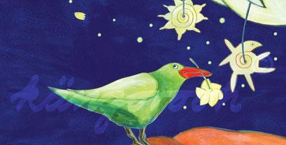 Postkarte Detail 1: elch mit vogel / kängorooh / 2017