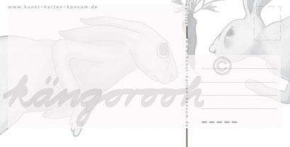 Postkarte Rückseite: karotte & hasen/ kängorooh / 2017