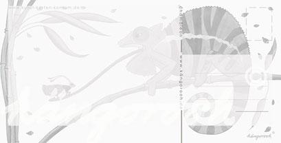 Postkarte Rückseite: waches Chamäleon  / kängorooh / 2018