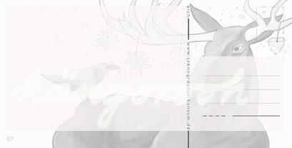 Postkarte Rückseite: elch mit vogel / kängorooh / 2017