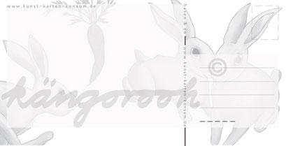 Postkarte Rückseite: hasen /kängorooh/ 2017
