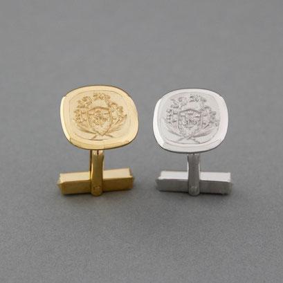 Wappen Manschettenknöpfe aus 925er Silber, goldplattiert und rhodiniert