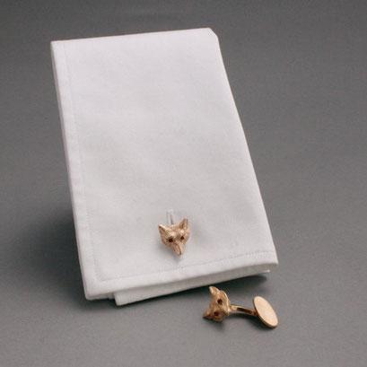 Manschettenknöpfe, Motiv: Fuchskopf mit Rubinaugen, 925er Sterlingsilber, vergoldet