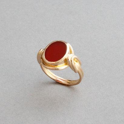 Damen Wappenring, Stein: Karneol, Ring 750er Gelbgold