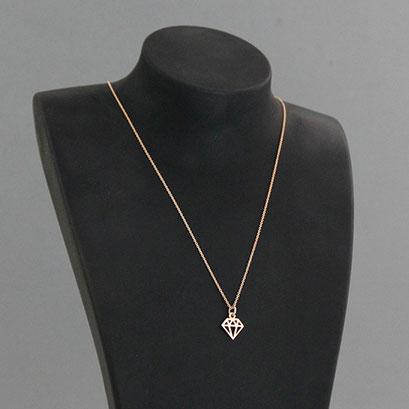 Halskette mit Brillant als grafische Outline, 585er Rotgold