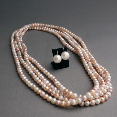Perlenkette, Süßwasserperlen, Perlendurchmesser 6,5mm, Länge 240cm, passende Perlohrhänger, Süßwasserperlen