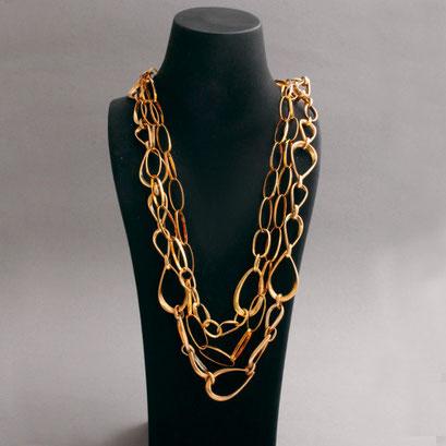Silberkette, 3 Stück, verschiedene Längen, vergoldet