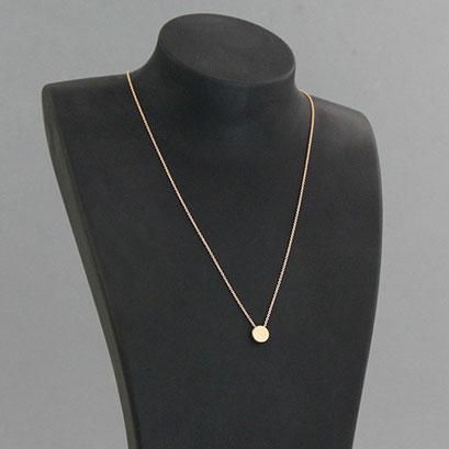 Halskette mit Gravurplatte rund, 585er Rotgold