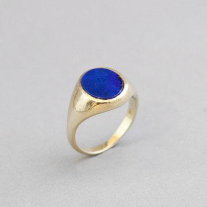 Damen Wappenring, Stein: Lapislazuli, Ring 750er Gelbgold