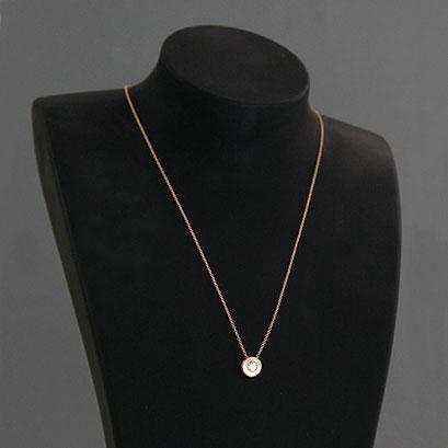 Halskette mit Brillantanhänger, 585er Rotgold