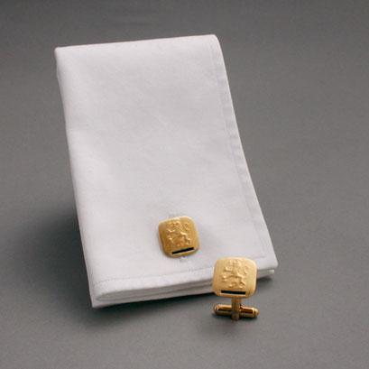 Manschettenknöpfe, Motiv: Löwe, 925er Sterlingsilber, vergoldet