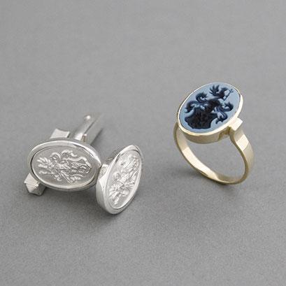Damen Wappenring Modell 230, Stein: hellblau Lagenachate, Manschettenknöpfe aus 925er Silber