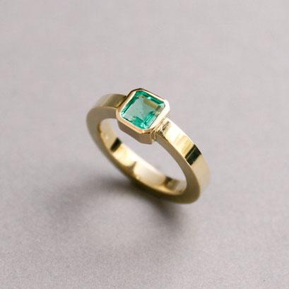 Smaragdring, 585er Gelbgold, Smaragd
