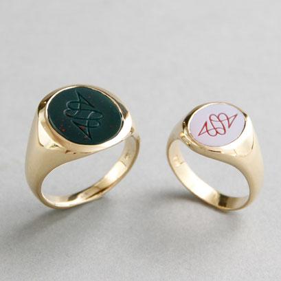 Herren und Damen Wappenring, Steine: grüner Jaspis und hellroter Lagenachat, Ringe 750er Gelbgold