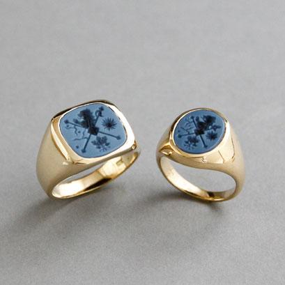 Herren und Damen Wappenring, Steine: blaue Lagenachate, Ringe 750er Gelb- und Roségold