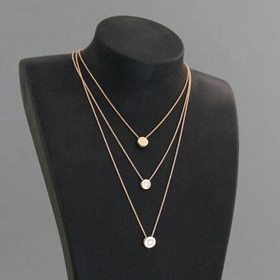 Halskette mit Brillantanhängern in 2 Größen und Gravurplatte ohne Stein, 585er Rotgold