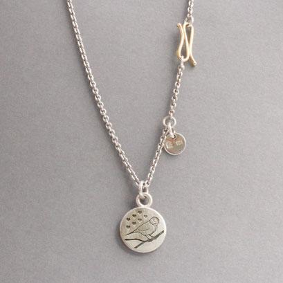 Silberkette (Ankerkette), 925er Sterlingsilber, Anhänger mit graviertem Logo, 925er Silber, S-Haken in Handarbeit gefertigt, 750er Gold