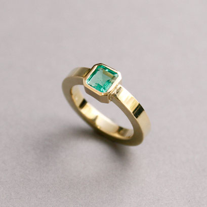 Smaragdring, 750er Gelbgold