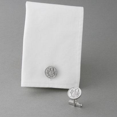 Wappen Manschettenknöpfe aus 925er Silber, rhodiniert