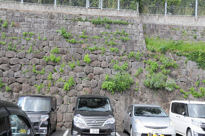 下の丸い石垣が長崎奉行所、上が県庁の石垣です。地元ならではのお話でした