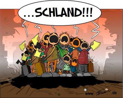 """Refugees: Alle sind Deutschlandfans. Deutschland wird Weltmeister in """"Empfangenskultur""""."""