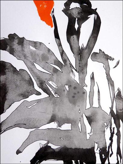 11. Exercices spirituels, encre de chine sur papier, 24 x 32 cm.