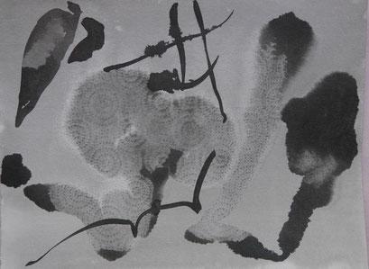 9. Exercices spirituels, encre de chine sur papier, 24 x 32 cm.