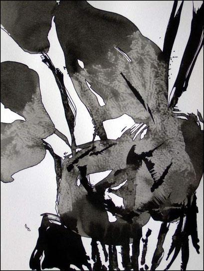 13. Exercices spirituels, encre de chine sur papier, 24 x 32 cm.
