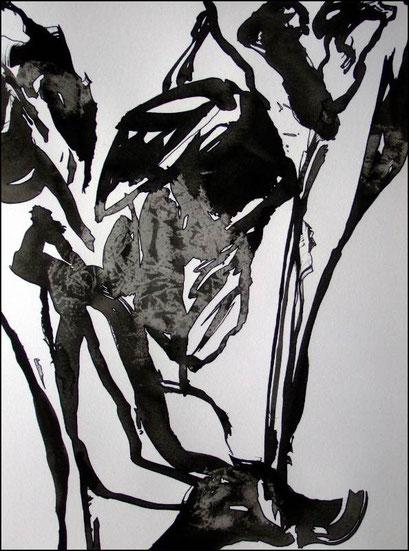 12. Exercices spirituels, encre de chine sur papier, 24 x 32 cm.