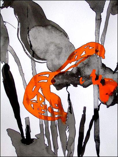 15. Exercices spirituels, encre de chine sur papier, 24 x 32 cm.