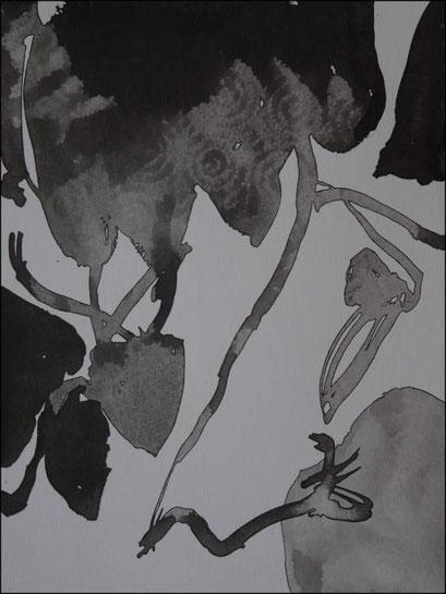 5. Exercices spirituels, encre de chine sur papier, 24 x 32 cm.